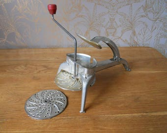 1950's French Vintage Kitchen Mouli Julienne Grater/Ricer with 2 Discs. Shabby Kitchenalia