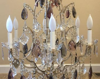 Vintage Italian Macaroni Crystal Beaded Chandelier Ceiling Fixture Italy French Decor Amethyst Smoked 6 light Gilt Brass