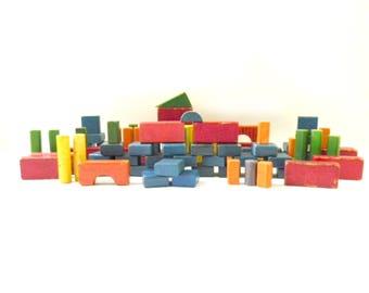Vintage Colorful Set of Wooden Blocks