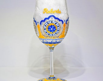 Moroccan Wine Glass - Hand Painted Wine Glasses, Wedding Wine Glasses, Wedding Gift, Housewarming Gift, Toasting Glasses, Personalized Gifts