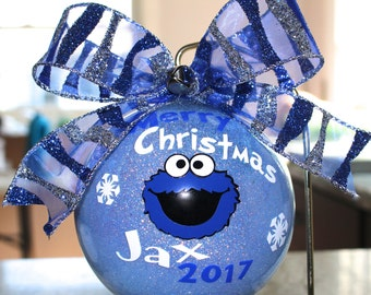 "Cookie Monster Ornament Sesame Street ornament Cookie Monster ornament Snowflakes 4"" Acrylic or Glass made with Vinyl decals"