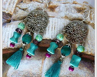 "Ethnic earrings ""UXMAL"" silver, chrysocolla, tassels, purple and turquoise Howlite gemstone"