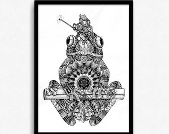 A3 Ornate Frog Totem Print - Spirit Animal Illustration | Dotwork, Mandala, Geometry & Mysticism