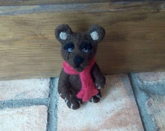 Needle felted cute bear in a red scarf miniature
