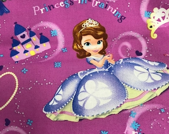"Fabric Cloth Remnant Disney Sofia the First Princess 28""x43"""