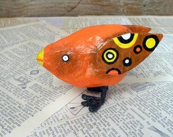 Papier mache bird, Paper Mache Bird, Paper Sculpture, Bird Figurine, Papier Mache Animal, Kids Room Decor, Unique Kids Gift, Decorative Bird