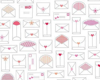 Lovebug Envelope Love Letter White Cotton Fabric from Lovebugs Collection by Doodlebug Designs for Riley Blake Designs per FQ per metre