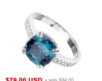 London Blue Topaz Engagement Ring Topaz Promise Ring for Her Princess Cut Engagement Ring Blue Engagement Ring Blue Promise Ring CZ Ring