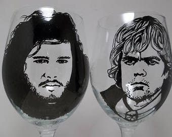 Game of Thrones, Jon Snow,  Tyrian Lannister, Hand painted glasses, Painted wine glasses
