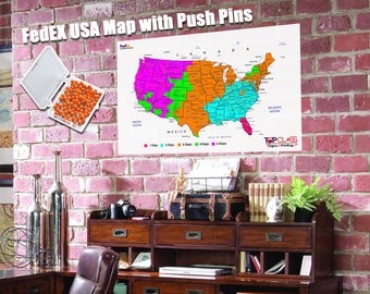 Large World Map Poster with Push Pins World Travel and World