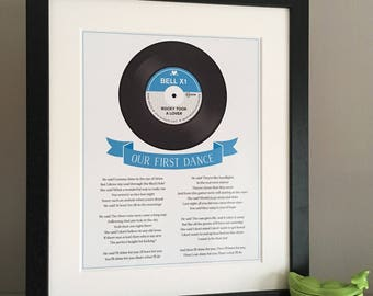 Our Song/First Dance framed print, First Dance Print, First wedding anniversary gift, Vinyl Record, First Dance lyrics, lyrics framed