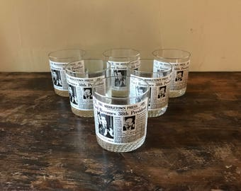 Nixon Resignation Rocks Glasses Or Tumblers, Issued By Middletown Press, Set Of Six In Original Box c. 1974