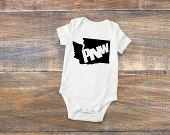 PNW Pride Washington State,one-piece, bodysuit, creeper, tshirt, baby clothing, new baby, Toddler WA state, Pacific Northwest clothing,