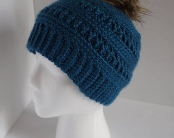 Crochet Beanie, Fur Pom Pom, Fur Pom Hat, Crochet Hat, Winter Hat, Women's Hat, Women's Beanie, Pom Pom Hat, Fur Pom Beanie, Teal Beanie
