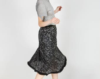 Lexa Grey Sequined High Waist Midi Skirt by Other Theory, 18AW035