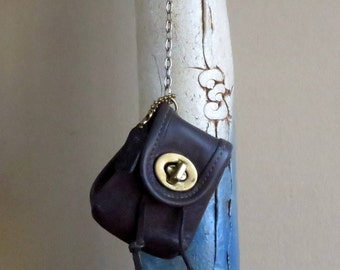 Spring Sale Coach Daypack Key Fob In Mahogany Leather With Brass Hardware Style No 7253 - VGC