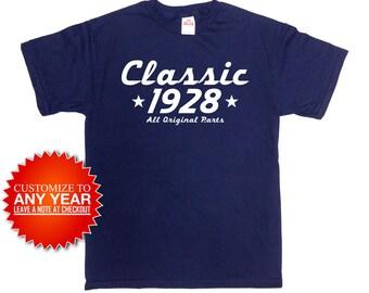Personalized Birthday T Shirt 90th Birthday Gifts For Him Custom Birthday Shirt Bday TShirt B Day 1928 Birthday Mens Ladies Tee - SA907