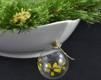 Vintage Unsilvered Glass Ball Christmas Ornament With Paper Cap, World War II Hand Painted Ornament