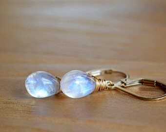 Moonstone Earrings, Rainbow Moonstone Earrings, June Birthstone, Wire wrapped, Leverback Earrings, Gold Filled, Rose Gold, Sterling Silver