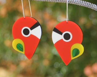 Macaw Parrot Bird Earrings - abstract laser cut acrylic plastic