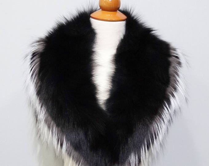 Real Large Fox Fur Collar,Black Fur for Leather Jacket F770
