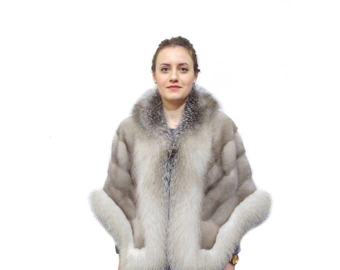 Fashion gray fur stole wrap F832