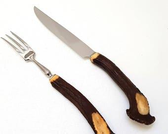 Vintage Deer Horn Meat Knife and Fork Set, Taxidermy