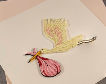 3D Blank Quilled Handmade Card Baby Arrival Card Congratulations Quilling Card