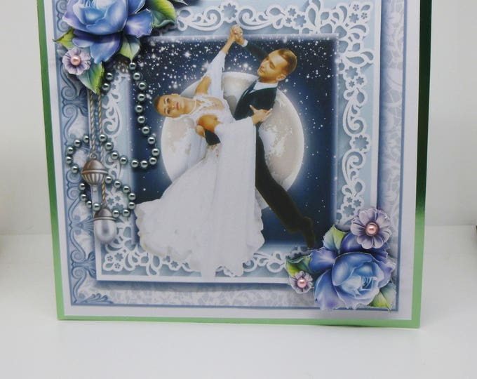 Wedding Card, Anniversary Card,Handmade 3 D Decoupage Card, Birthday Card, Greeting Card, Dancing In The Moonlight, Female Any Age,