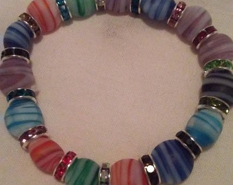Handmade Stretchy Bracelet With Marbled Matte Multicolored Beads