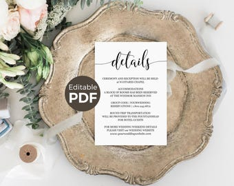 Wedding Details Cards Template, DIY Editable Wedding Information Cards, Printable Wedding Details Insert Rustic Wedding Information Template