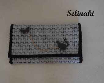 Knitted Gray Clutch Bag with Cat & Butterfly Brooch