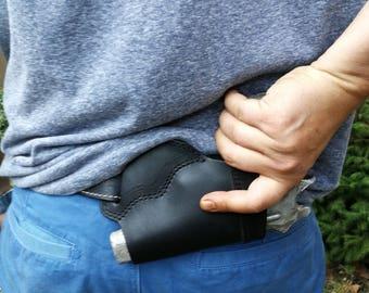Belt Slide Right and Hand Holster Black Leather Slide Guard