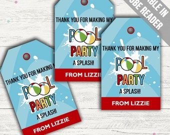 Pool Party Favor Tags (Swimming Party Thank You Tags). Printable PDF (EDITABLE). Instant Download.
