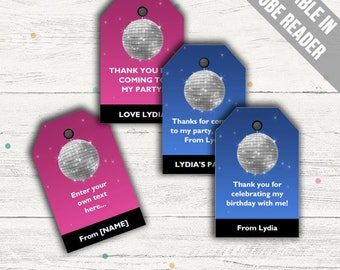 Dance Party Favor Tags (Disco Party Thank You Tags). Pink And Blue. Printable PDF (EDITABLE). Instant Download.