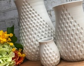 Carved white vase - wheel thrown pottery vase - modern carved pattern - made to order in multiple sizes and colors - custom ceramic vase