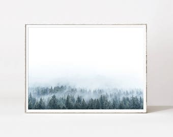 Forest print, forest photography, forest poster, forest wall art, forest fog, forest landscape, minimalist nature, scandinavian prints