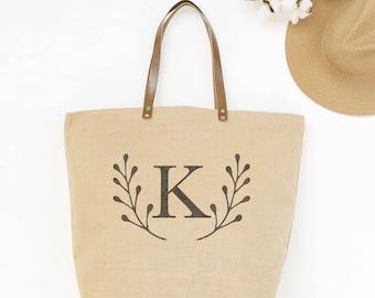 Personalized Gift Tote-Large Monogrammed Purse-Burlap Initial Tote Bag-Burlap Tote Bag-Weekender Bag Monogram Tote Bag-2017 gifts for her