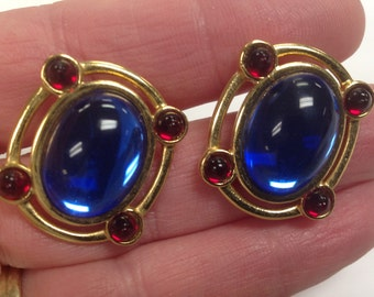 Monet Clear Blue Cabochon Clip on Earrings with Red Accent Stones