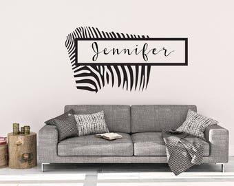 Custom Zebra Name Wall Decal   Custom Wall Decal   Name Wall Decor   Wall  Decal
