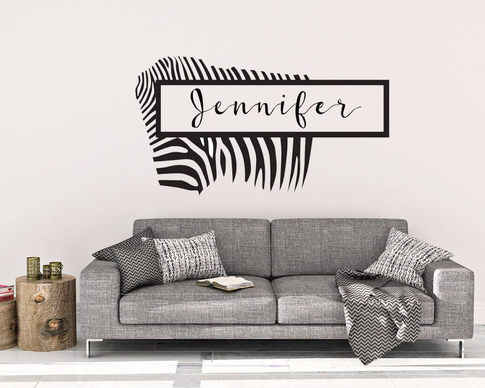 Custom Zebra Name Wall Decal   Custom Wall Decal   Name Wall Decor   Wall  Decal   Name Decal   Wall Decals   Zebra Wall Decal   Zebra