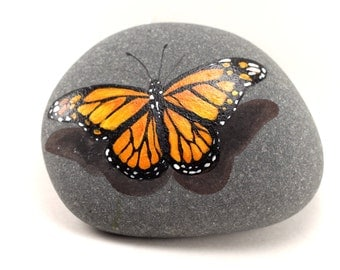 Painted Rocks - Painted Monarch Butterfly Rock - Garden Decor - Monarch Butterfly Stone - Rock painting - Monarch Butterfly #2