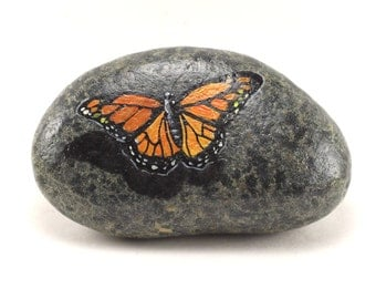Painted Rocks - Painted Monarch Butterfly Rock - Garden Decor - Monarch Butterfly Stone - Rock painting - Monarch Butterfly #3