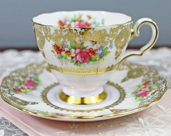 Vintage Grosvenor Heavy Gold Filigree and Floral Bouquet English Bone China Teacup and Saucer, Wedding Tea Party Favor
