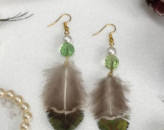 Feather Earrings Brown Peacock feathers Cut glass beads  Pearl