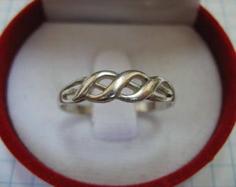 SOLID 925 Sterling Silver Ring Wave Small Light US Size 8.5 Russian Ukrainian Size 18.75 Simple Common Pattern