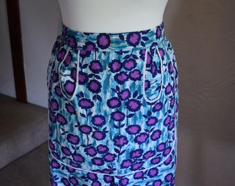 Vintage blue and purple apron, 1980s