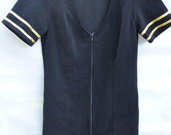 Flight Attendant Mile High Captain Dress Blue Gold Stripes Short Uniform Size Small Dress Low Cut Zippers Pilot Cosplay Mini Dress Pilot Cop