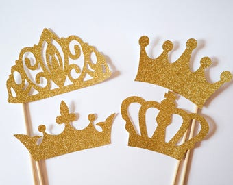 4-Piece Gold, Rose Gold or Silver Glitter Crown/Tiara – Photo Booth Props, Wedding, Hen, Bachelorette, Engagement, Birthday New Year party.