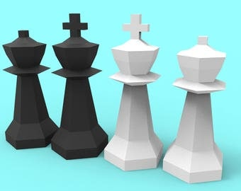 King and Queen Giant Chess Pieces Papercraft PDF Pack - 3D Paper Sculpture Template with Instructions - DIY Decoration